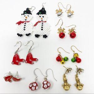 Bundle of 8 Pairs Christmas Earrings
